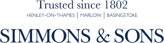 Simmons & Sons logo with the text Trusted since 1802 Henley-on-Thames, Marlow, Basingstoke